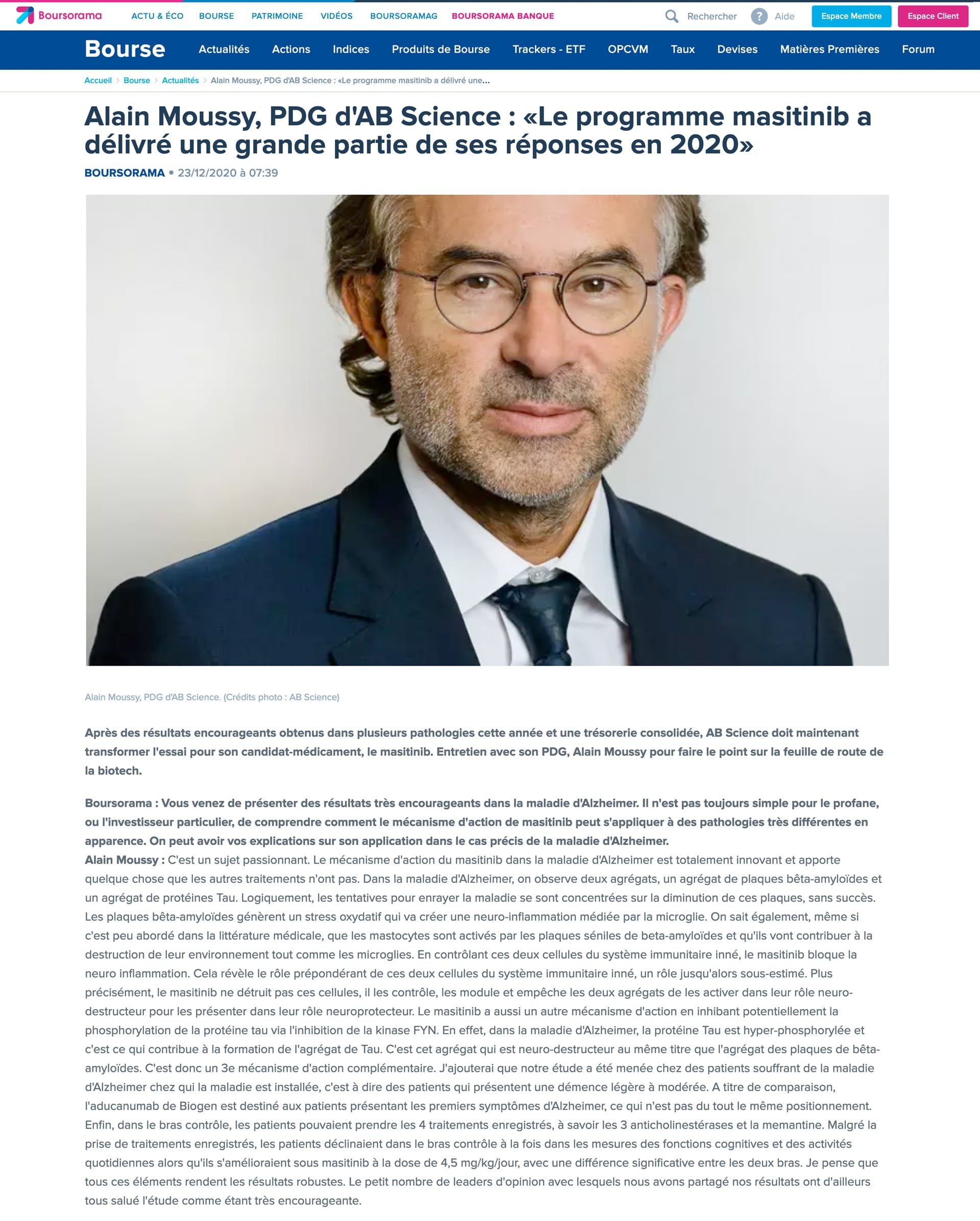 23/12/2020 Boursorama Interview d'Alain Moussy