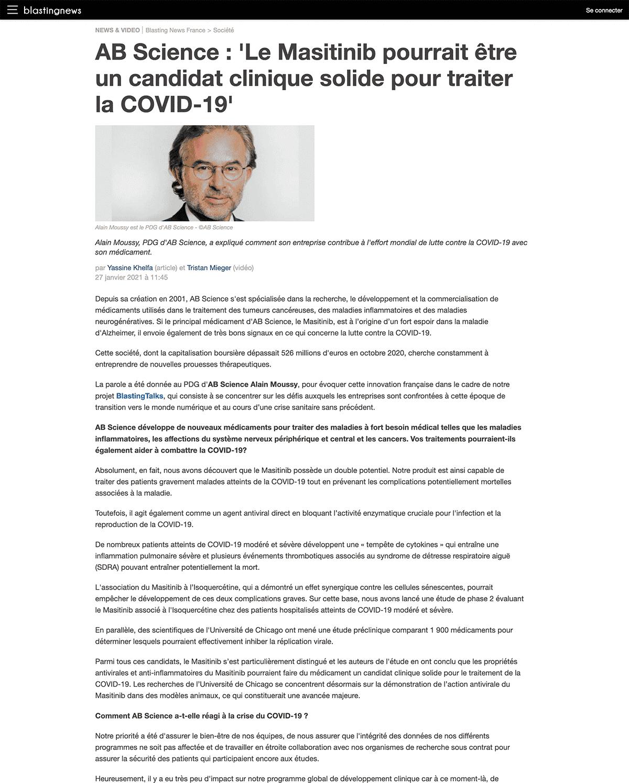 Interview dans Blastingnews d'Alain Moussy